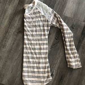 Striped lace long sleeve blouse